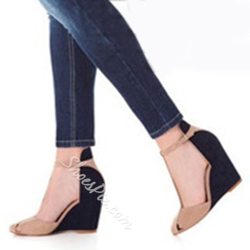 Shoespie Vintage Ankle Wrap Wedge Heels