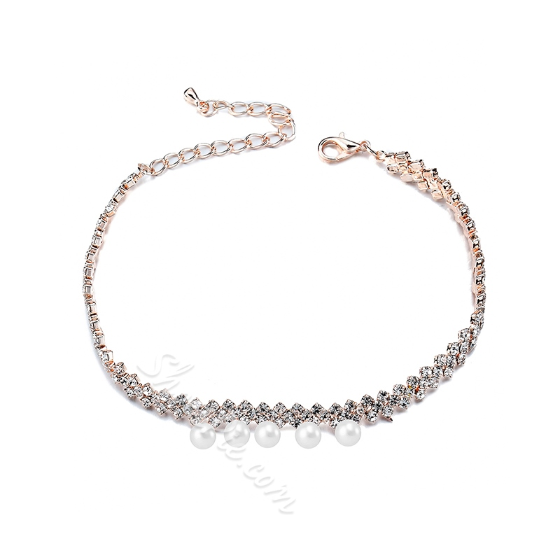 Shoespie Pearl Rhinestone Concise Anklet