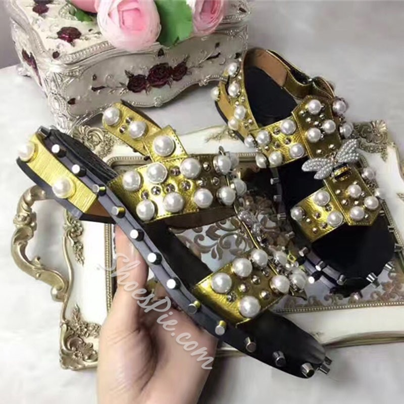 Shoespie Pearls and Bees Flat Sandals