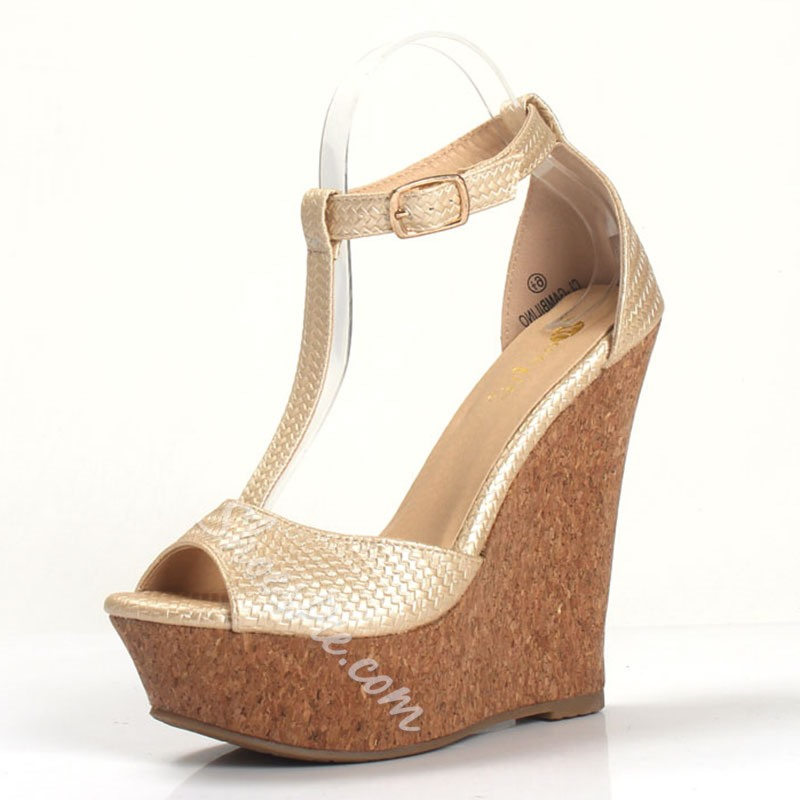 Shoespie T Strap Wedge Platform Sandals
