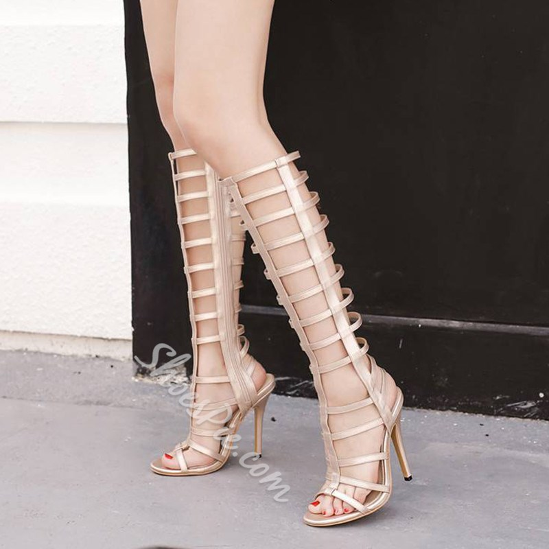 d53e07f24a00f1 Shoespie Caged Stiletto Heel Knee High Gladiator Sandals- Shoespie.com