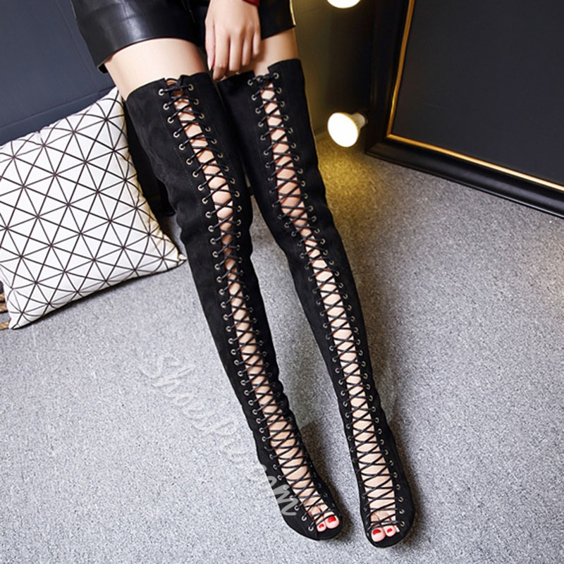 Shoespie Cross Strap Elastic Knee High Boots