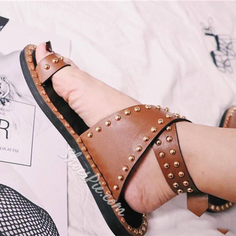 Shoespie Clip Toe Gladiator Sandals with Round Rivets