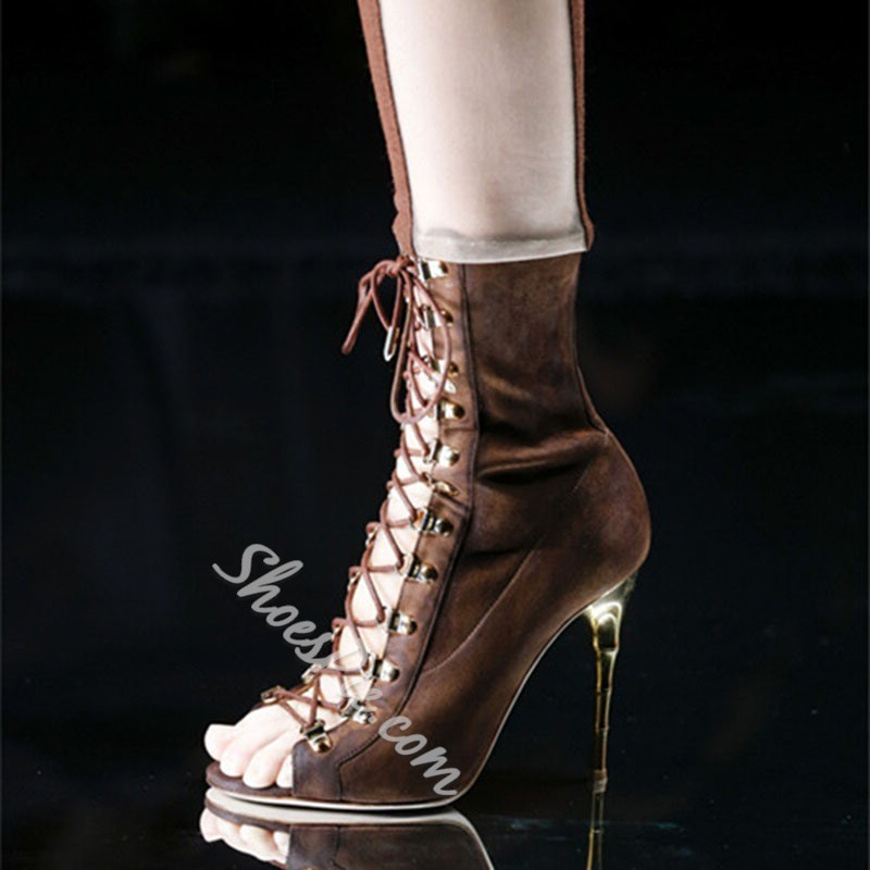 Shoespie Lace Up Open Toe Heel Bootie Sandals