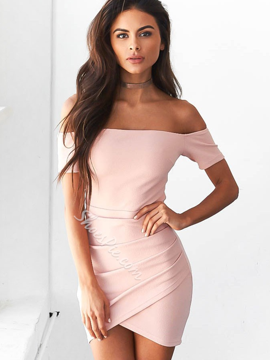 Shoespie Backless Slash Neck Short Sleeve Off-The-Shoulder Bodycon Dress