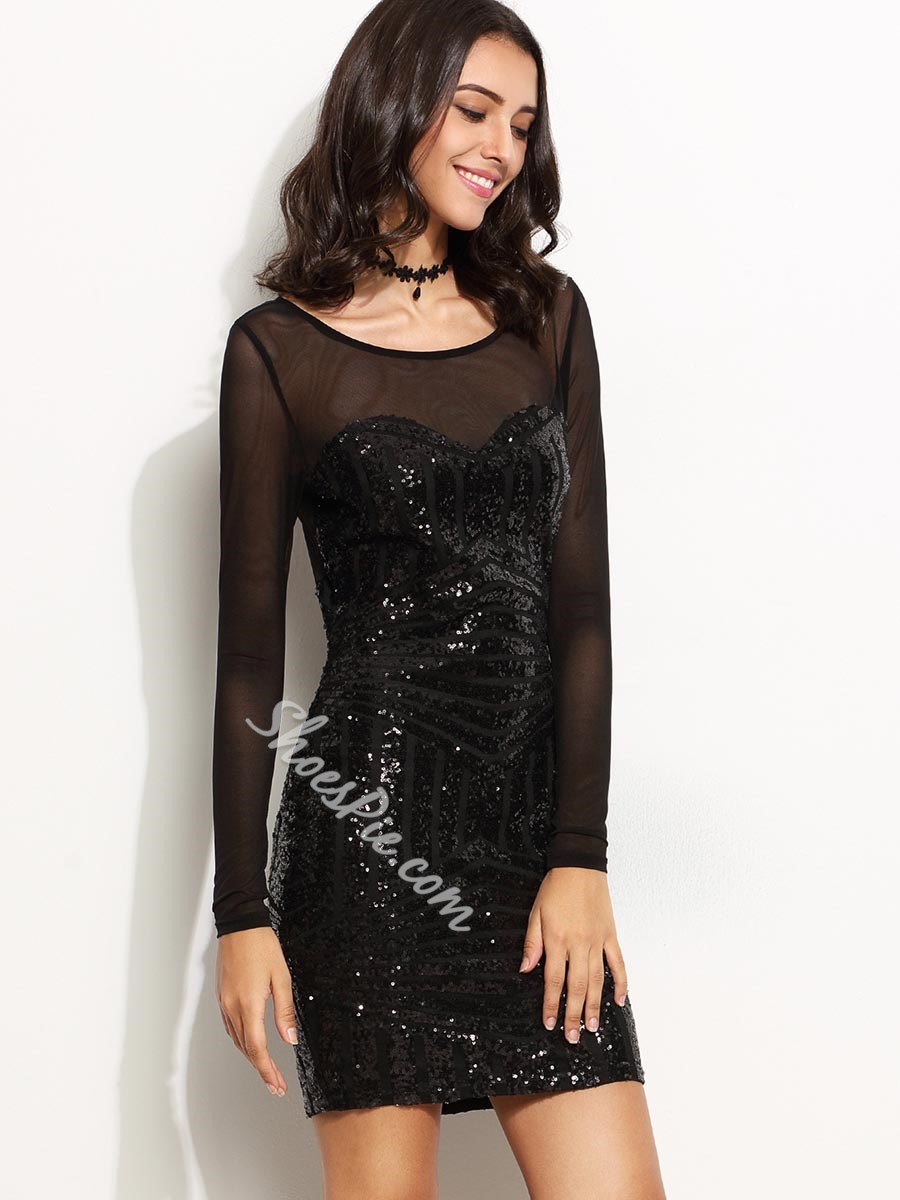 Shoespie See-Through Patchwork Long Sleeve Bodycon Dress
