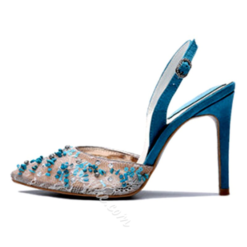 Shoespie Lace Rhinestone Beads Sequin Slingback Strap Stiletto Heel