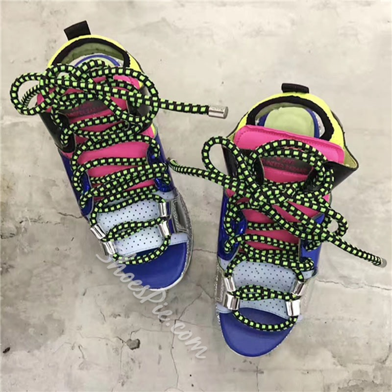 Shoespie Color Block Lace Up Flat Sandals
