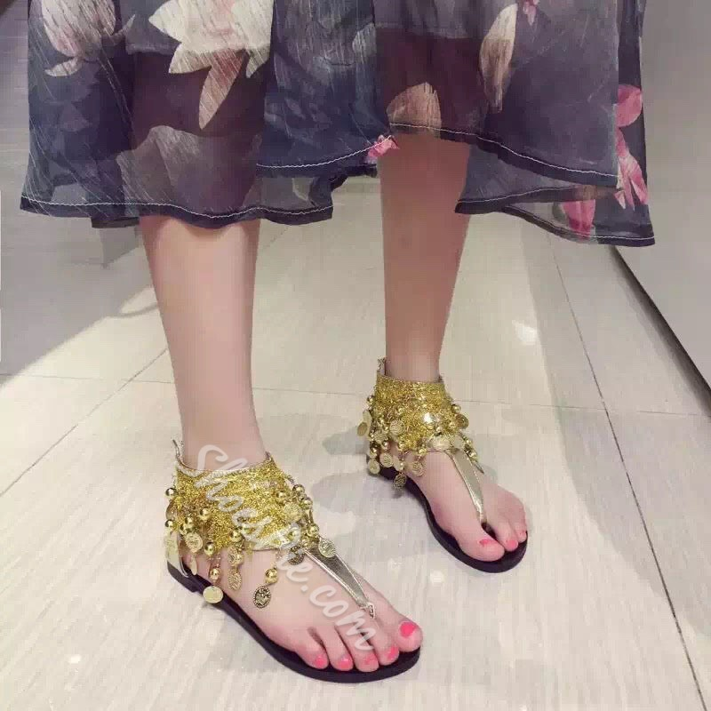 Shoespie Embellishment Ankle Wrap Thong Flat Sandals