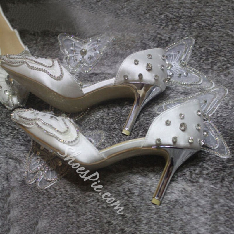 Shoespie Rhinestone Bow Bridal Shoes