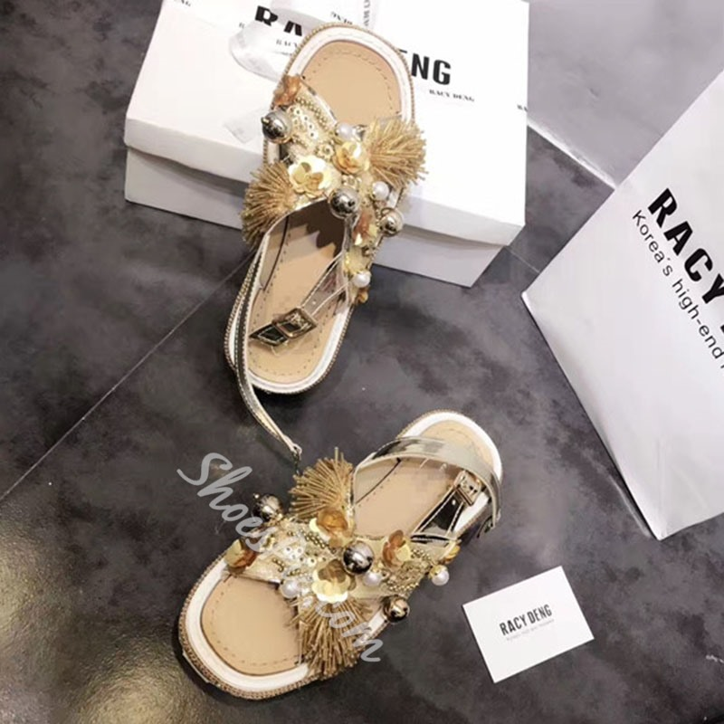 Shoespie Golden Embellished Slingback Flat Sandals
