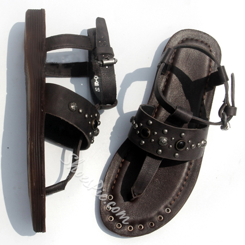 Shoespie Embellished Thong Gladiator Sandals