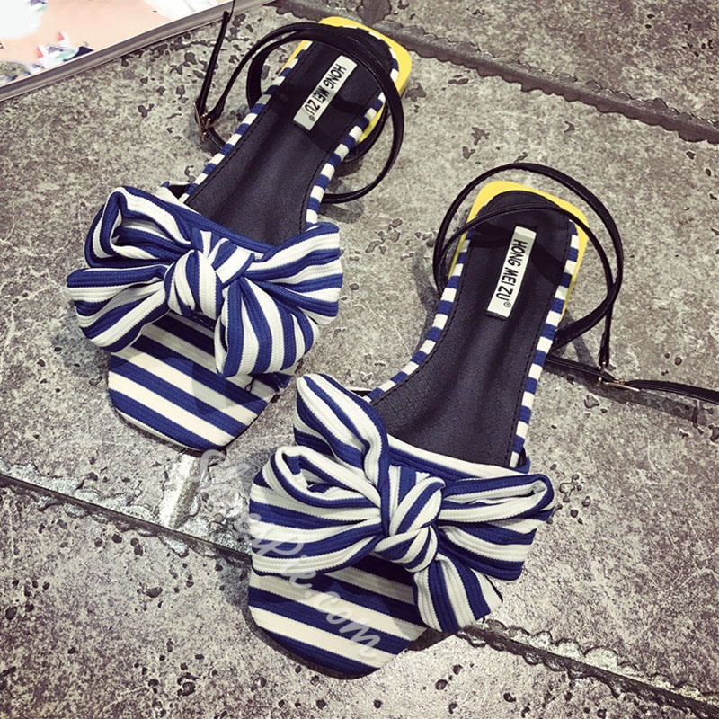 Shoespie Navy Stripes Bow Flat Sandals