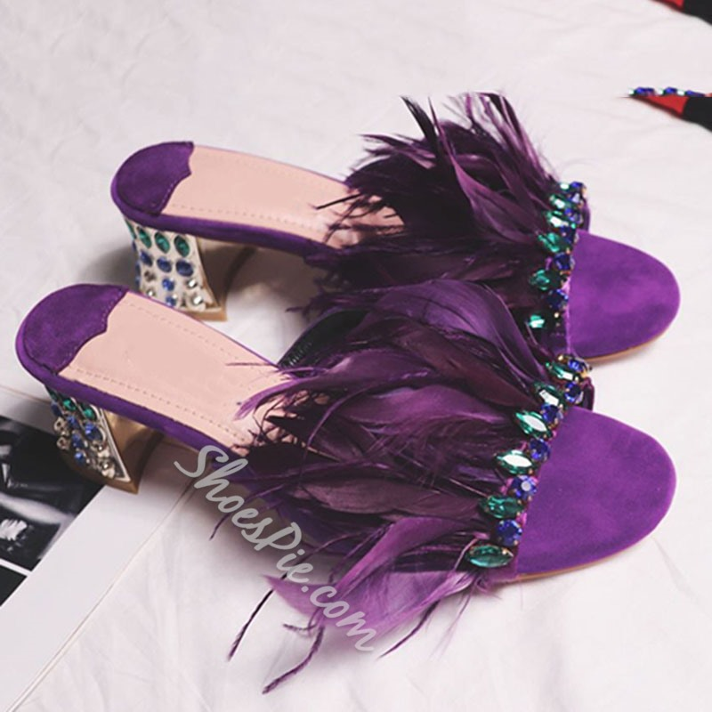 Shoespie Feather and Rhinestone Chunky Heel Slippers