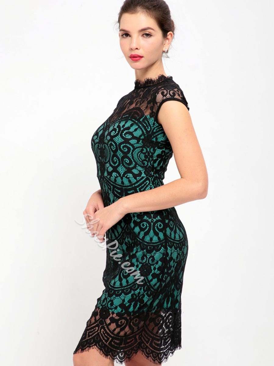 Shoespie Hollow Backless See-Through Lace Cap Sleeve Bodycon Dress