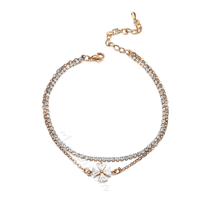 Shoespie Four-Rhinestone Women's Anklet