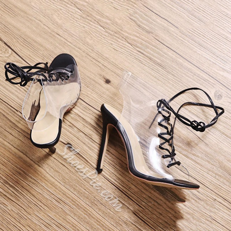 Shoespie Peep Toe Lace-Up Hollow Stiletto Heel Dress Sandal