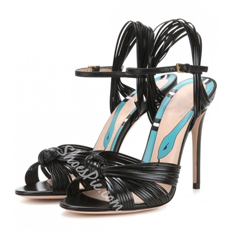 Shoespie Multi Color Plaited Strappy Stiletto Heel Sandals