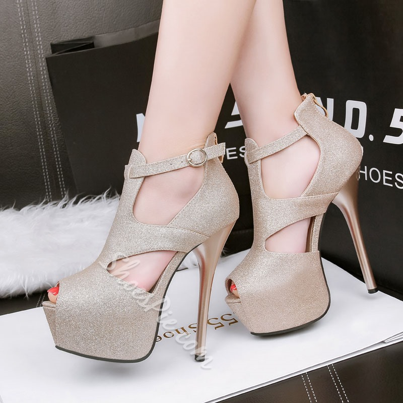 Shoespie Paillette Ankle Ultra High Heel