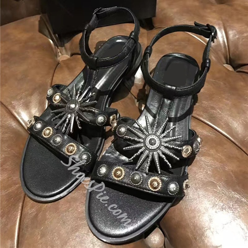 Shoespie Rivets and Charms Flat Sandals