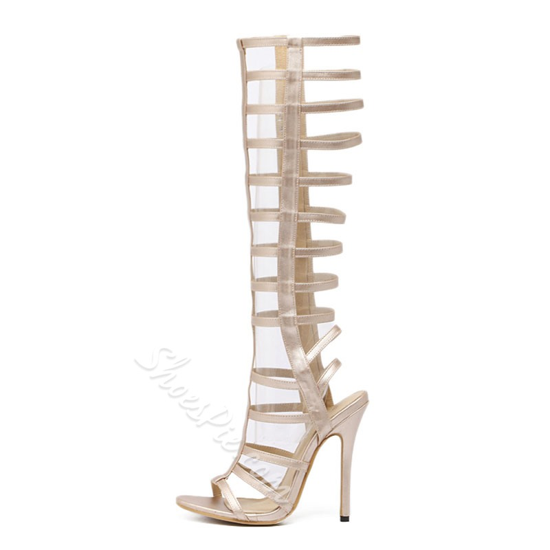 815f59903ac Shoespie Caged Stiletto Heel Knee High Gladiator Sandals- Shoespie.com