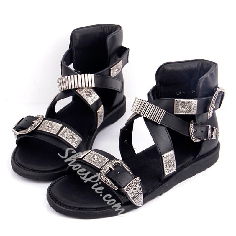 Shoespie Original Gladiator Sandals with Metal Decoration