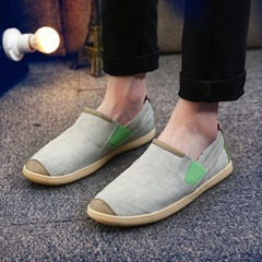 Shoespie Canvas Casual Round Toe Color Block Slip-On Men's Loafers