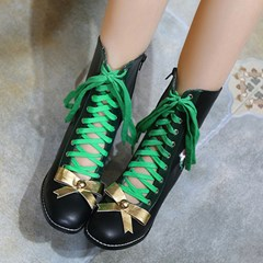 Shoespie Brisk Lace-up Tie Bow Ankle Boots