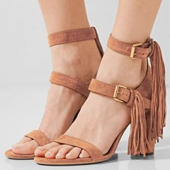 Shoespie Straps and Tassels Chunky Heel Sandals