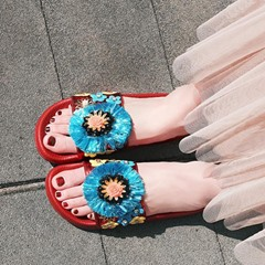 Shoespie Block Color Embellished Slippers