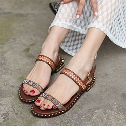 Shoespie Rivets and Patterns Flat Sandals