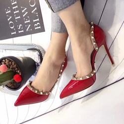 Shoespie Rivets Pointed-toe Rivets Shallow Stiletto Heels