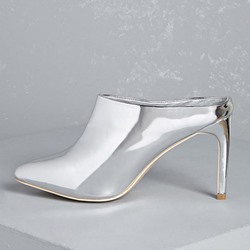 Shoespie Metallic Backless Ankle Boots