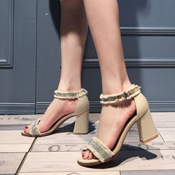 Shoespie Raw Edge Straps Block Heel Sandals