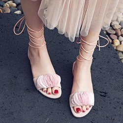 Shoespie Pink Frills Lace Up Flat Sandals
