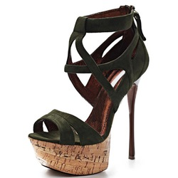 Shoespie Suede Wooden Platform and Stiletto Heel Sandals