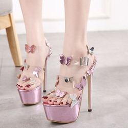 Shoespie Summer Girls Cute Thin Butterfly Platform Heels