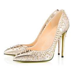 Shoespie Rivets Pointed-toe Shallow Stiletto Heels