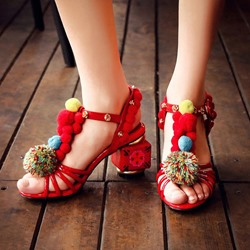 Shoespie Pompom Block Heel Sandals