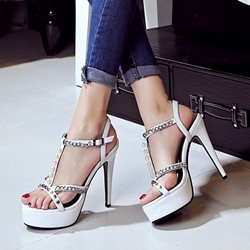 Shoespie Chains Decorated Strappy Platform Heel Sandals