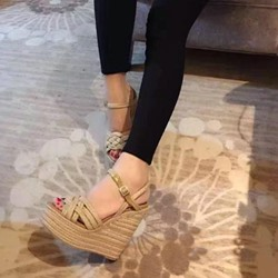 Shoespie Braided Wedge Platform Sandals