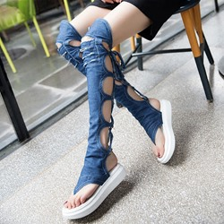 Shoespie Denim Cutout Over the Knee Back Lace Up Gladiator Sandals