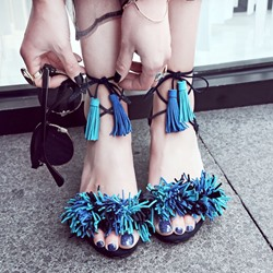 Shoespie Faded Blue Fringe Heel Sandals