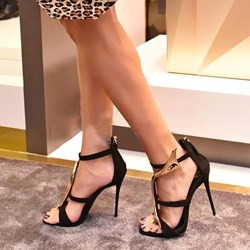 Shoespie Strappy Back Zipped Heel Sandals