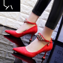 Shoespie Ankle Wrap Rhinestone Stiletto Heels