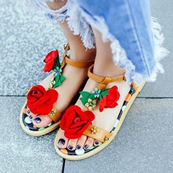 Shoespie Flora Applique Flat Sandals