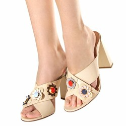 Shoespie Flora Applique Heeled Mules