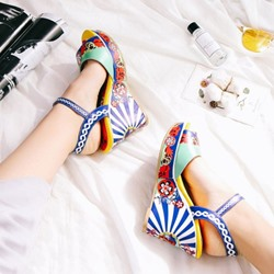 Shoespie Pop Print Wedge Sandals