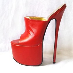 Shoespie Red Super High Platform Heel Mules