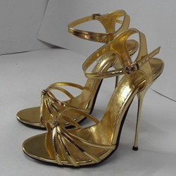 Shoespie Golden Strappy Stiletto Heel Sandals